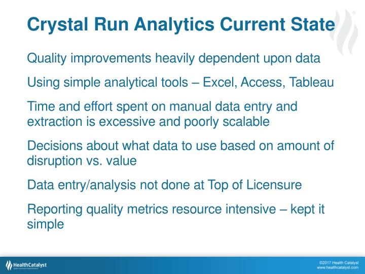 Crystal Run Analytics Current State