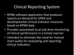 clinical reporting system