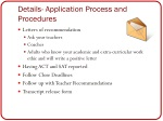 details application process and procedures