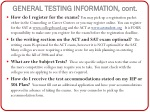 general testing information cont