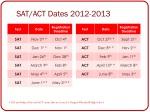 sat act dates 2012 2013
