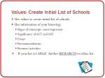 values create initial list of schools