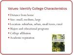 values identify college characteristics