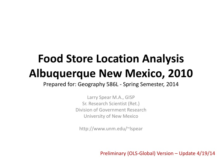 Food Store Location Analysis