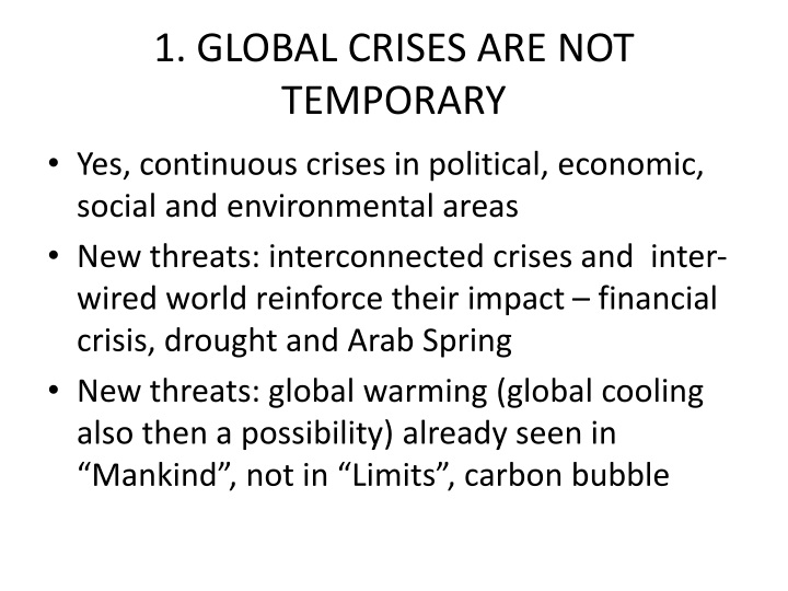 1. GLOBAL CRISES ARE NOT TEMPORARY