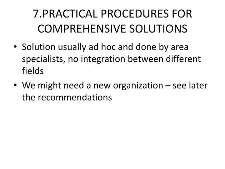 7.PRACTICAL PROCEDURES FOR COMPREHENSIVE SOLUTIONS