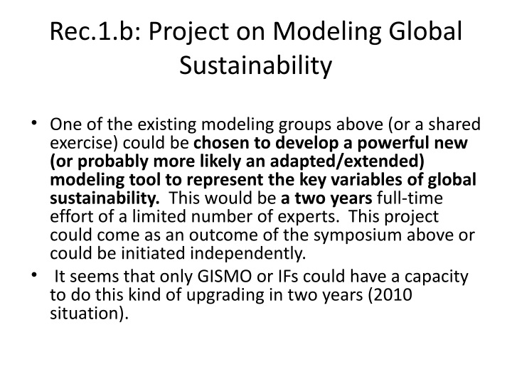 Rec.1.b: Project on Modeling Global Sustainability