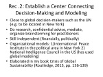 rec 2 establish a center connecting decision making and modeling