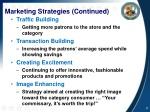 marketing strategies continued