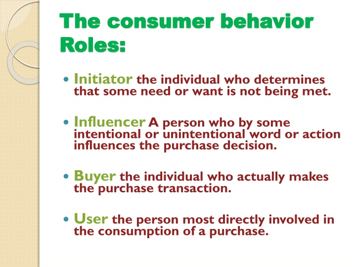 The consumer behavior Roles: