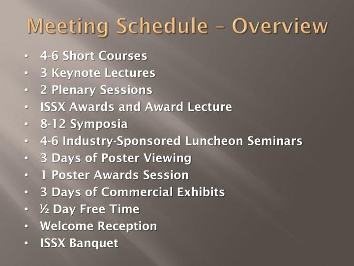 Meeting Schedule – Overview