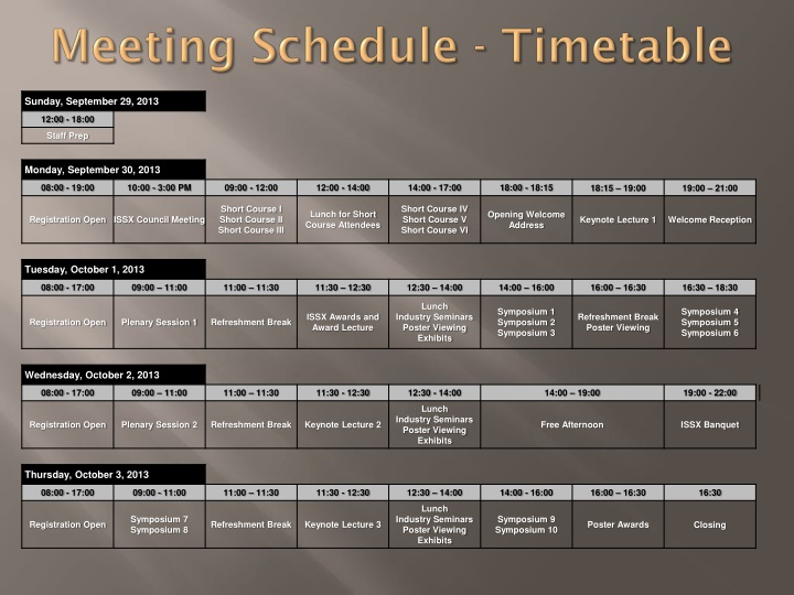 Meeting Schedule - Timetable