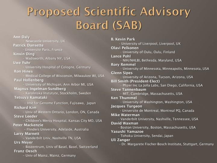 Proposed Scientific Advisory Board (SAB)