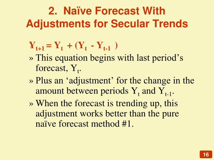 2.  Naïve Forecast With Adjustments for Secular Trends