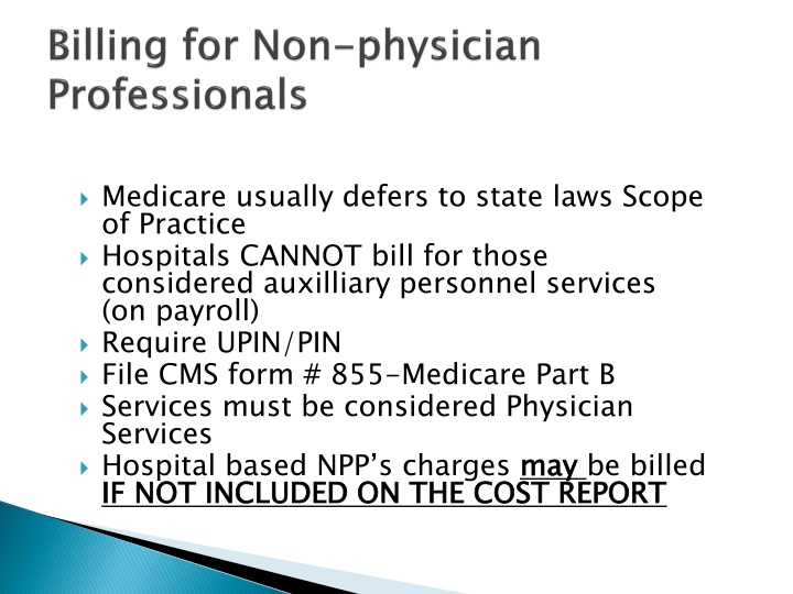 Billing for Non-physician Professionals
