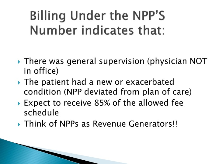 Billing Under the NPP'S Number indicates that: