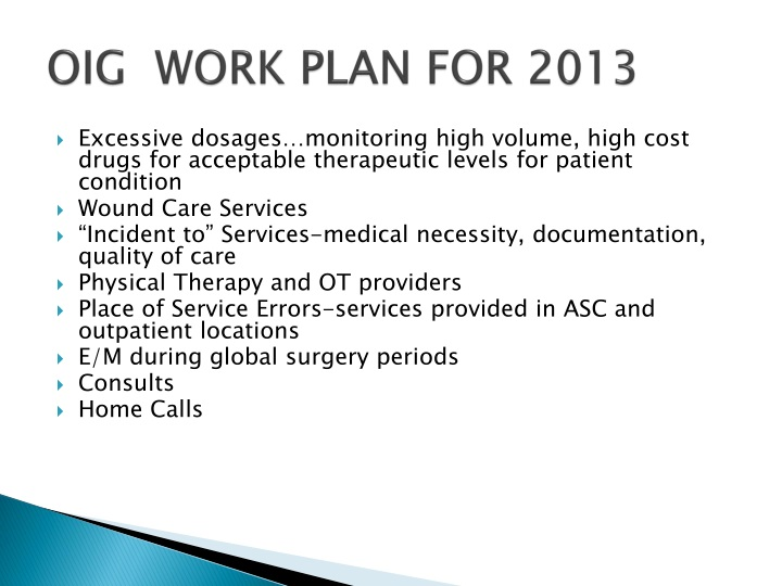 OIG  WORK PLAN FOR