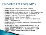 overlooked cpt codes npp s
