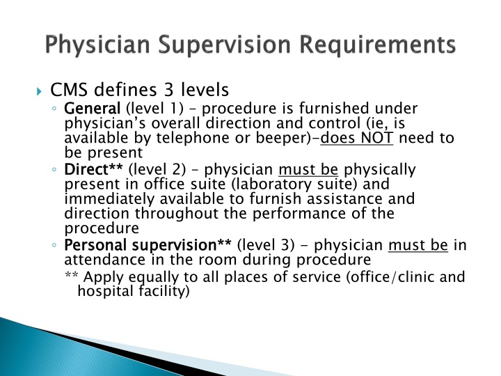 Physician Supervision Requirements