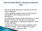 shared split billing hospital inpatient only