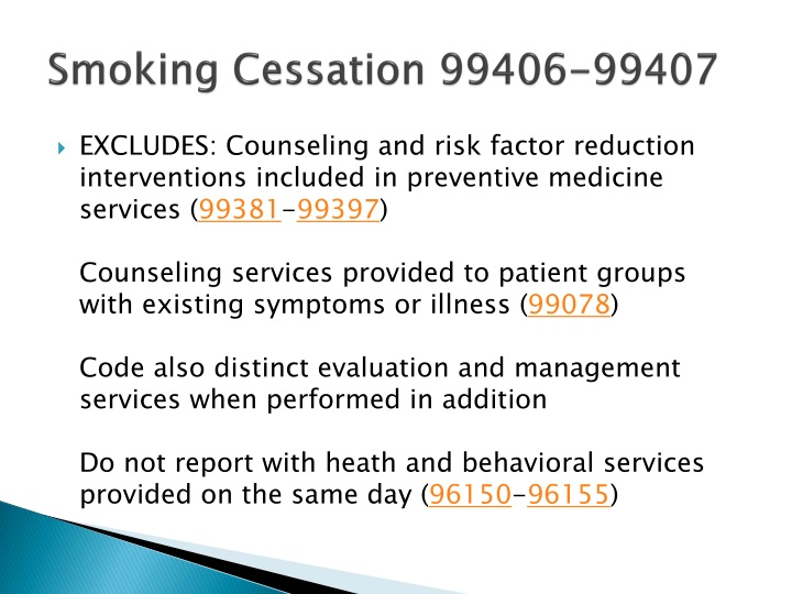 Smoking Cessation 99406-99407