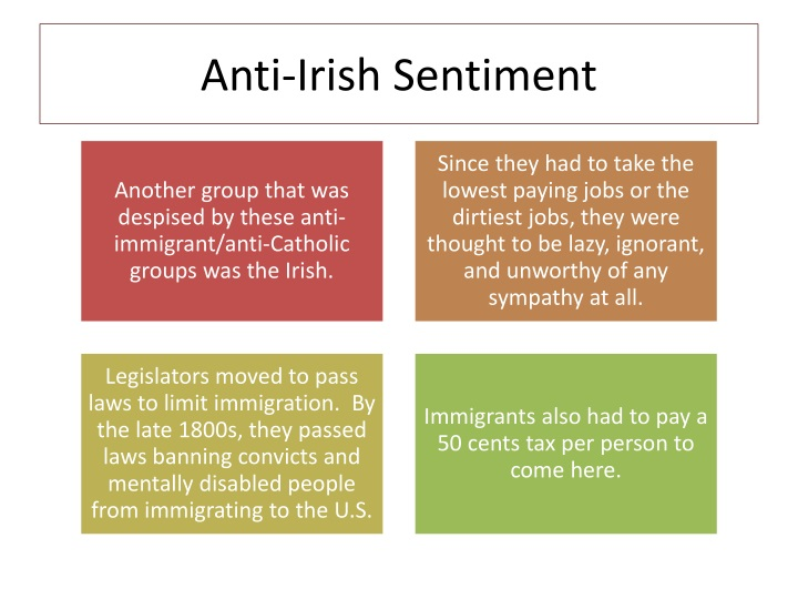 Anti-Irish Sentiment