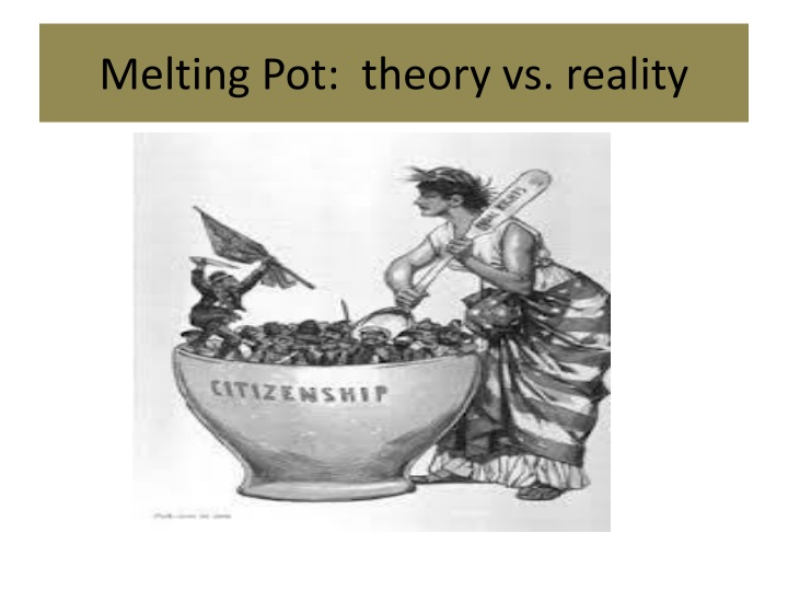 Melting Pot:  theory vs. reality
