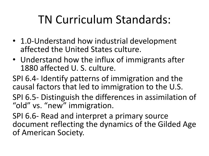 TN Curriculum Standards: