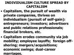 individualism culture spread by capitalism