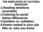 the subtleties of cultural behavior