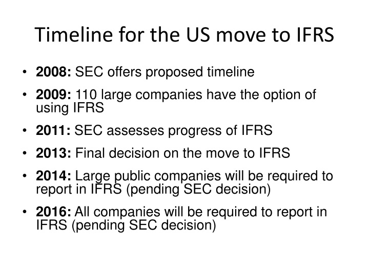 Timeline for the US move to