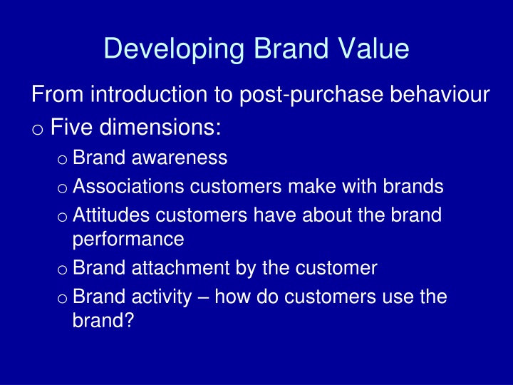 Developing Brand Value