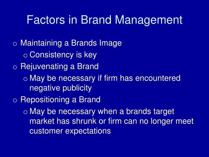 Factors in Brand Management