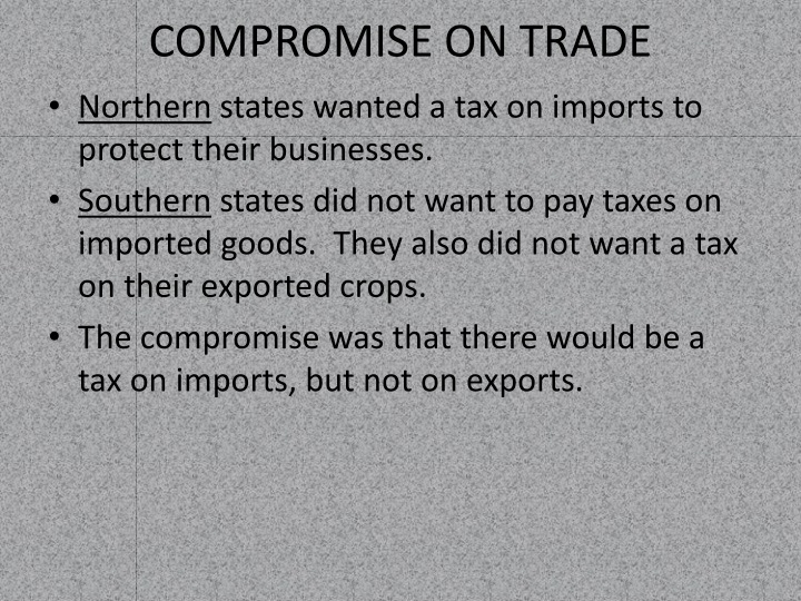 COMPROMISE ON TRADE