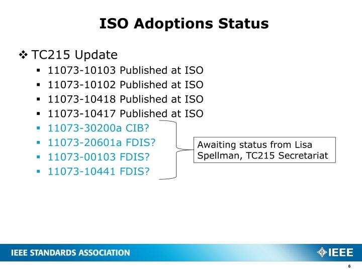 ISO Adoptions Status