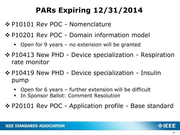 PARs Expiring 12/31/2014