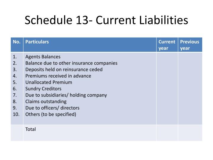 Schedule 13- Current Liabilities