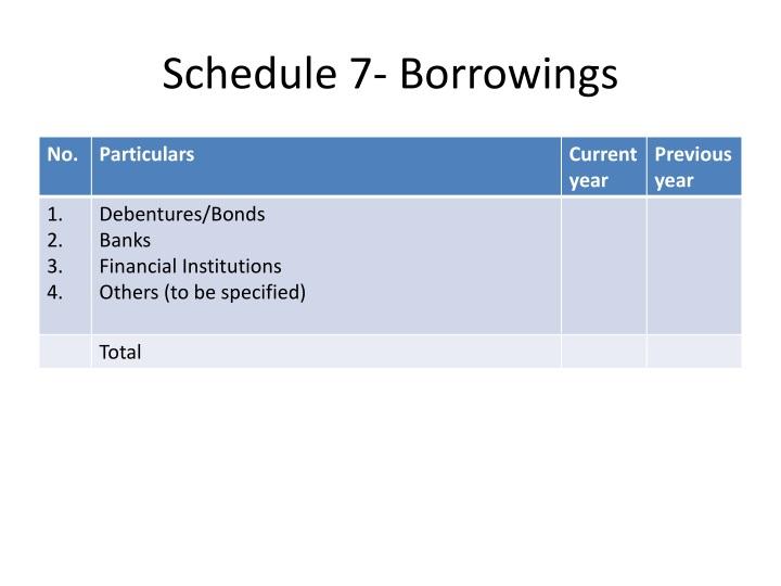Schedule 7- Borrowings