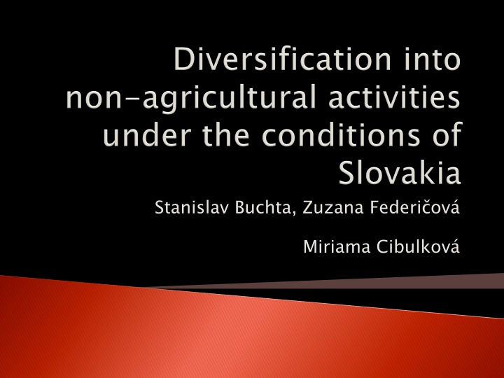 Diversification into non agricultural activities under the conditions of slovakia