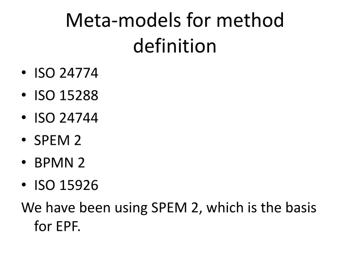Meta-models for method definition