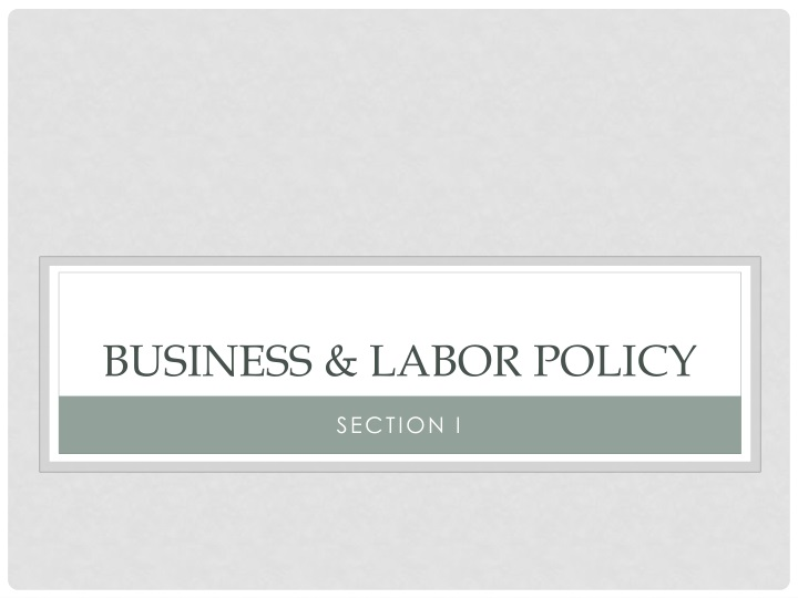Business labor policy