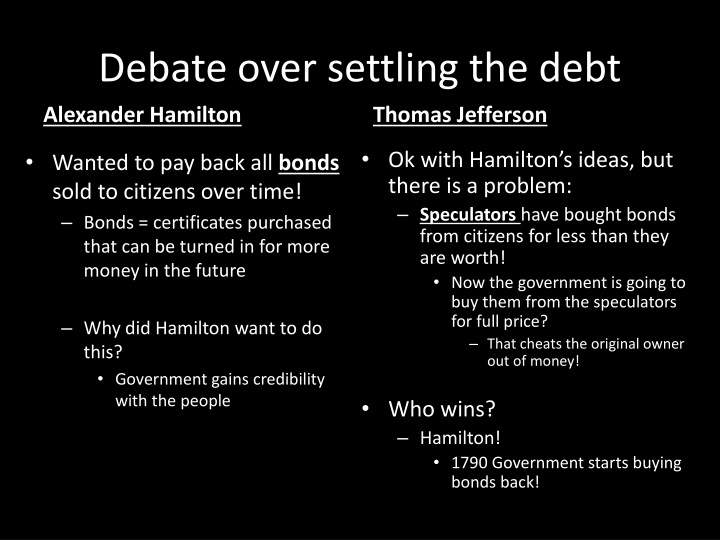 Debate over settling the debt