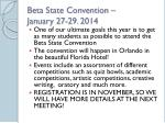 beta state convention january 27 29 2014