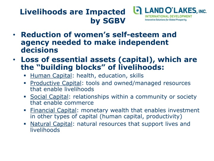 Livelihoods are impacted by sgbv