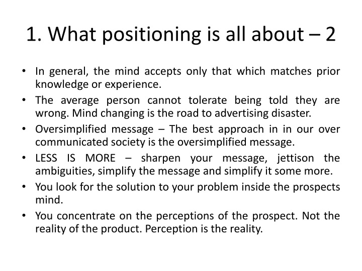 1. What positioning is all about – 2