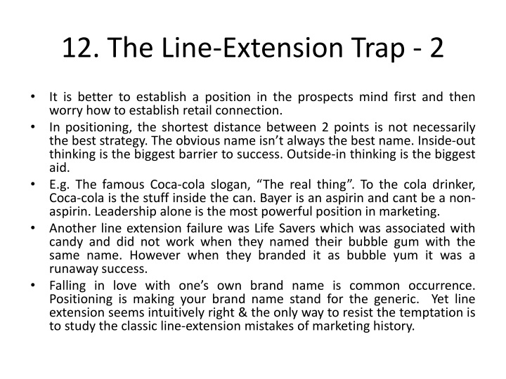 12. The Line-Extension Trap - 2