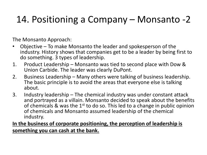 14. Positioning a Company – Monsanto -2