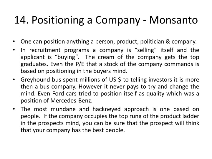 14. Positioning a Company - Monsanto