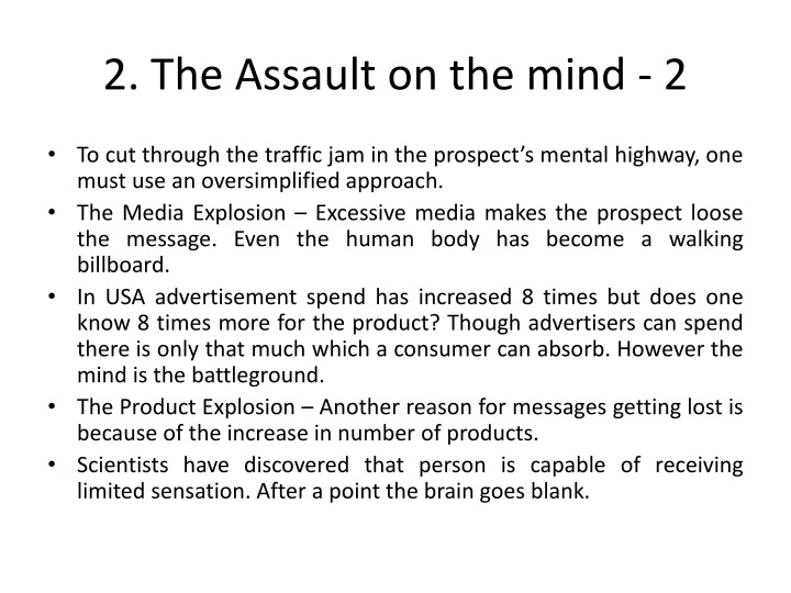 2. The Assault on the mind - 2