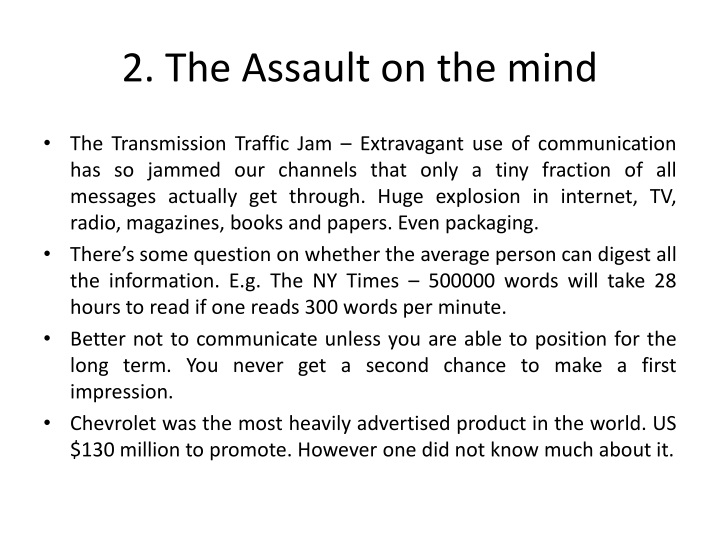 2. The Assault on the mind